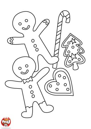 Coloriage: Les sucreries de Noël