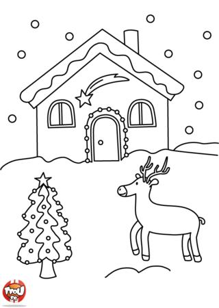 Coloriage: Il neige devant la maison
