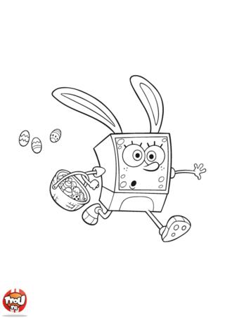 Coloriage : ouh là Bob l'Eponge attention, où cours-tu si vite avec ton panier de Pâques rempli d'oeufs au chocolat ? Nous devrions vite imprimer ce coloriage de Bob l'Eponge à Pâques et l'aider à ne pas perdre ses oeufs en chocolat. Et puis ce coloriage à imprimer gratuitement de ton héros Bob est drôlement rigolo, tu as vu son déguisement ? Vraiment Bob l'Eponge tu as beaucoup d'humour, avec toi on va passer de bonnes fêtes de Pâques sur TFou ! Tous à vos crayons pour rendre ce coloriage de Bob l'Eponge encore plus drôle.