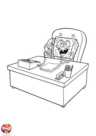 Coloriage: Bob l'éponge au bureau