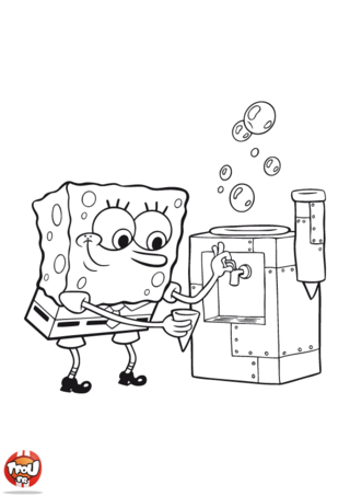 Coloriage: Bob l'éponge boit de l'eau