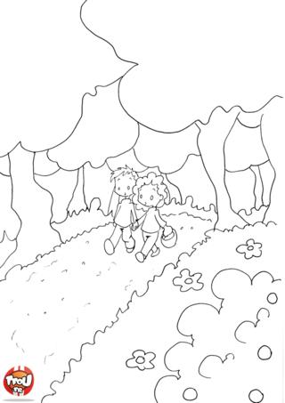 Coloriage: Ballade en forêt