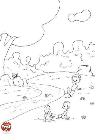 Coloriage: Au bord du ruisseau