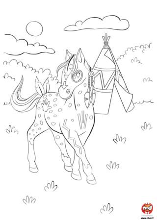 Tiki-Tiki est un beau cheval indien. Il vit avec la tribu des Oplala et est le cheval favori du chef de la tribu. Tiki-Tiki est super beau avec ses peintures indiennes dessinées sur sa robe, et les jolies plumes qui ornent sa crinière et sa queue. Ce cheval se promène tranquillement autour du tipi de son maitre, et attend de pouvoir partir avec lui pour des chevauchées sauvages. Imprime vite ce coloriage gratuit de cheval pour enfants sur TFou.fr et donne des couleurs à Tiki-Tiki !
