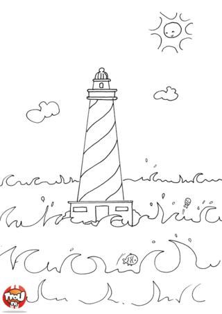 Coloriage: Le phare dans la mer