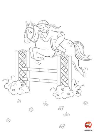 Magalie, la jeune cavalière et Princesse sa jument, s'entrainent joyeusement au saut d'obstacles. C'est une belle journée pour faire du cheval, il fait beau et la pelouse est remplie de jolies petites fleurs. Et hop ! Princesse fait un super saut réussi. Regarde comme elle est belle avec ses petits chignons sur la crinière. Toi aussi tu aimes le cheval ? Imprime vite ce coloriage gratuit de cheval pour enfants sur TFou.fr pour t'amuser. Colorie Princesse la jument et Magalie, ça leur donnera encore plus envie de continuer l'entrainement !