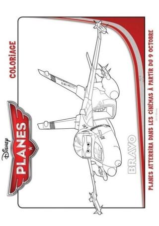 Retrouve ce super coloriage à imprimer de Bravo, l'un des héros de la nouvelle série pour enfant Planes. Bravo est un super jet de combat, professionnel des courses aériennes qui possède un très bon sens de la voltige. Il se prend d'amitié pour Dusty, le personnage principal de la série et lui fait intégrer son escadron. Bravo est très utile ! En effet, il vient en aide à tous les avions qui ont des problèmes durant le Grand Rallye du Tour du Ciel. Imprime vite ce coloriage gratuit de ce dessin animé Disney sur TFou.fr et redonne des couleurs à Bravo.