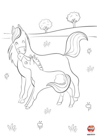 Sur TFou.fr, tu pourras imprimer ce coloriage de cheval pour enfant. Tu aimes les chevaux ? tu vas pouvoir mettre des couleurs sur cette maman cheval et son enfant, le gentil poneySur TFou.fr, tu pourras imprimer ce coloriage de cheval pour enfant. Tu aimes les chevaux ? tu vas pouvoir mettre des couleurs sur cette maman cheval et son enfant, le gentil poney. Maman cheval et bébé cheval sont dans la prairie, et s'amusent tranquillement au milieu des fleurs. Ils ont l'air heureux et se font des petits bisous. Ils n'attendent que tes crayons pour voir la vie de mille et une couleurs !es peintures indiennes...