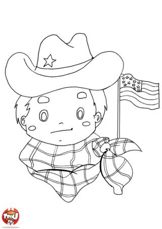 Coloriage: Cowboy américain