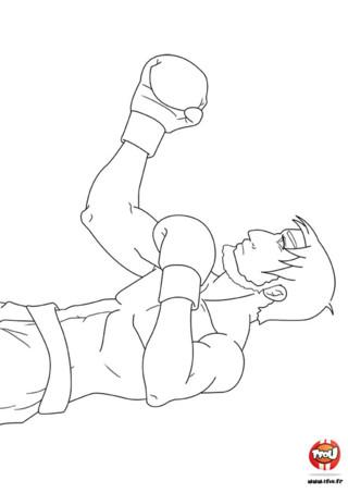 Coloriage : La garde du boxeur. Entraine-toi à tenir ta garde grâce à ce coloriage de boxe ! Imprime-le gratuitement sur TFou.fr et ajoute les couleurs de ton choix.