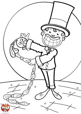 Coloriage: Magicien et sa manche magique