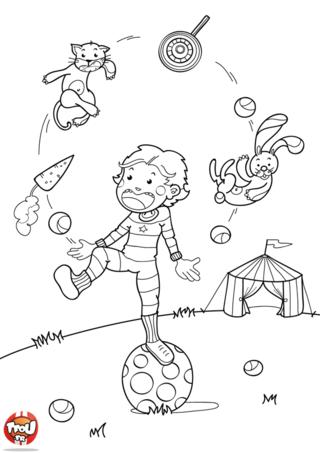 Coloriage: l'apprenti jongleur