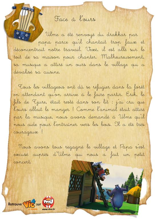 carnet de bord Vic le viking - Face à l'ours