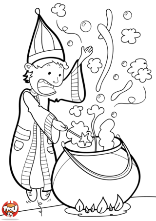 Coloriage: Le magicien et sa potion magique