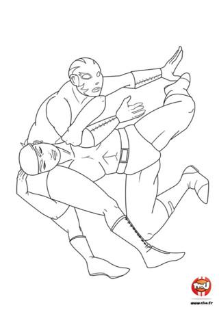 Coloriage : La chute du combat de catcheurs . Toi aussi vient te battre contre ces deux catcheurs en impriment gratuitement ce cloriage sur TFou.fr.