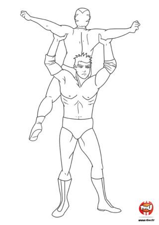 Coloriage : Combat de deux catcheurs porté. Viens vite te combattre contre ces deux grands catcheurs en imprimant ce coloriage gratuit sur TFou.fr.