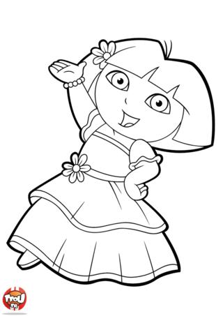 Coloriage: Dora danse