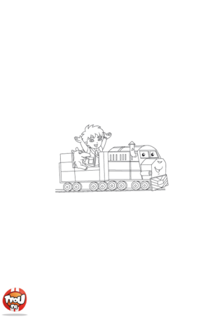 Coloriage: Diego petit train