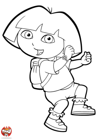 Coloriage: Dora part à l'aventure