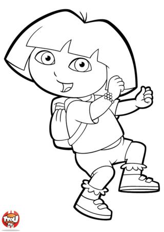 Coloriage: Dora part à l'aventure