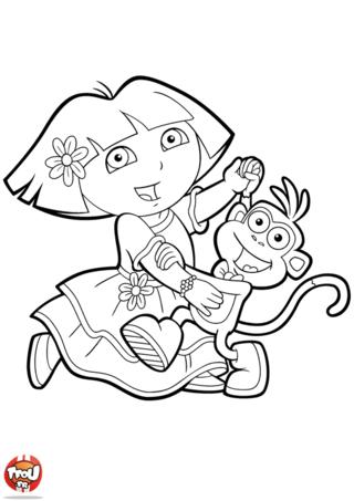 Coloriage: Dora et Babouche dansent