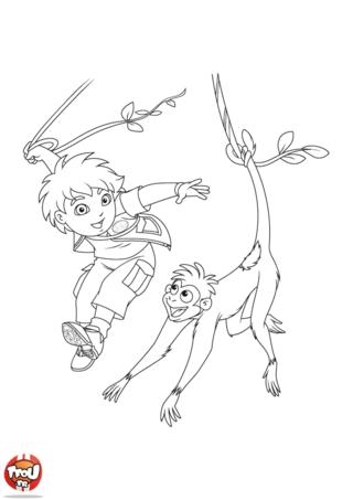 Coloriage: Diego et le singe