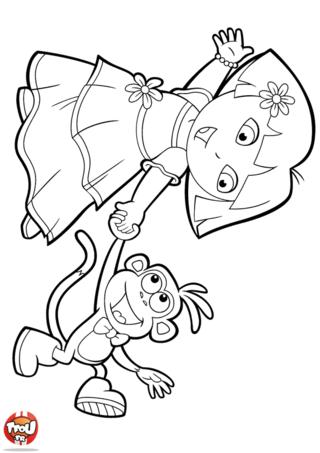 Coloriage: Dora et Babouche dansent très bien