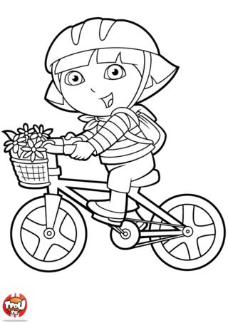 Coloriage: Dora fait du vélo