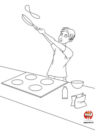Antoine veut faire plaisir à toute sa famille en préparant de délicieuses crêpes pour la Chandeleur. Il cuisine très bien et adore faire sauter les crêpes. Imprime le coloriage sur TFou.fr.