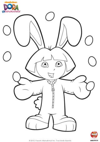 Coloriage : Dora aime bien se déguiser ! Et aujourd'hui elle est déguisée en lapin à l'occasion des fêtes de Pâques. Imprime ce coloriage de Dora, regarde comme elle est drôlement habile, elle jongle avec tous ces oeufs en chocolat, sans en faire tomber un seul ! C'est certains le jour de pâques nous trouvons beaucoup d'oeufs en chocolat cachés dans le jardin ! Dora a eu beaucoup de chance, elle a trouvé au moins 7 oeufs en chocolat dans son jardin. Imprime vite ce coloriage de Dora l'exploratrice avant qu'elle ne mange tous les oeufs en chocolat et qu'il n'en reste plus pour toi !