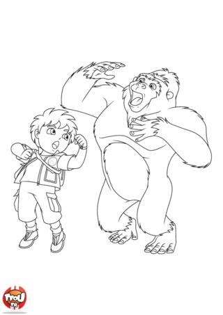 Coloriage : Diego et son ami le gorille