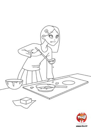 Pour la Chandeleur, Julie a regardé la recette de Poulbill pour préparer de délicieuses crêpes. Elle y met tout son coeur pour faire plaisir à ses amis.