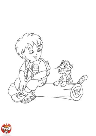 Coloriage: Diego et la panthère 3