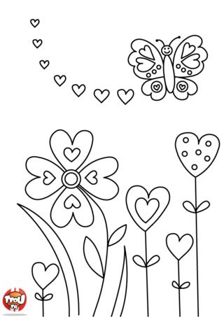 Le papillon virevolte de bonheur parmi les fleurs pour fêter la Saint Valentin le 14 février. Imprime et colorie de mille couleurs ce joli papillon sur TFou.fr pour la Saint Valentin.