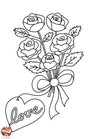 Un bouquet de fleurs pour la Saint-Valentin, quelle bonne idée. Ce coloriage de Saint Valentin est vraiment un beau cadeau pour le 14 février. Imprime d'autres coloriages sur TFou.fr.