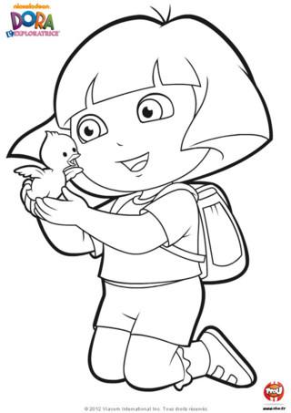 Coloriage : dépêche-toi d'imprimer gratuitement ce magnifique coloriage de Dora l'exploratrice sur TFou.fr ! Si toi aussi tu adores toutes les aventures exceptionnelles de Dora l'Exploratrice sur TFou alors ce coloriage est fait pour toi ! Utilise tes plus beaux crayons de couleur pour colorier ce super dessin de Dora l'Exploratrice ! Ton héroïne préférée vient juste de trouver un magnifique poussin sur son chemin en se baladant avec ses meilleurs amis Babouche et Chiper qui sont aussi en vacances de Pâques.