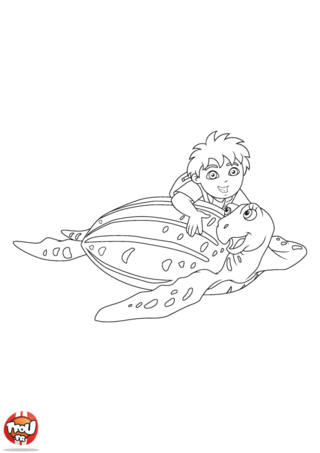 Coloriage: Diego et sa tortue 2