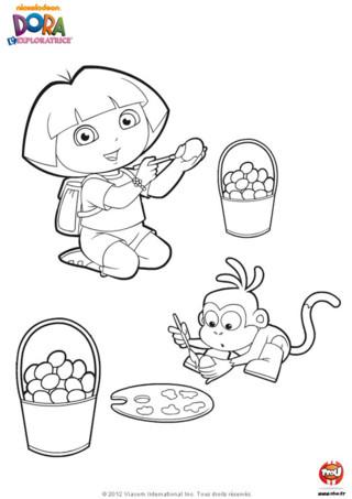 Coloriage : Dora et Babouche peignent des oeufs de Pâques pour décorer leur maison pour les vacances