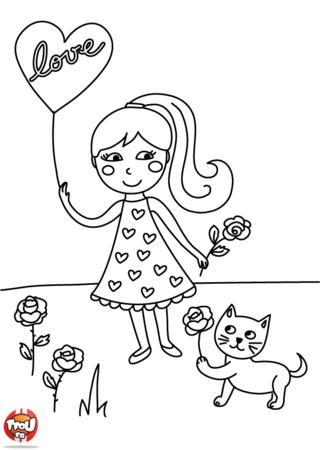 Un coeur et une rose pour la Saint-Valentin, quels beaux cadeaux pour le 14 février ! Imprime ce coloriage de Saint Valentin sur TFou.fr et colorie-le vite.
