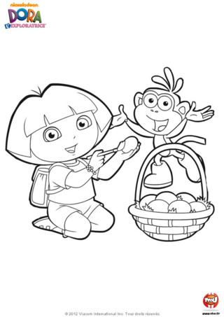 Coloriage : Dora et Babouche peignent des oeufs de Pâques. A ton tour de décorer ta maison avec tous les jolis coloriages de Dora l'exploratrice