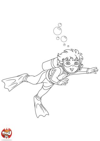 Coloriage: Diego fait de la plongée