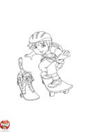 Diego skate avec la panthère
