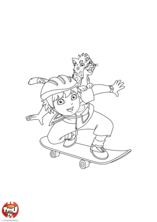 Coloriage: Diego skate avec la panthère 2