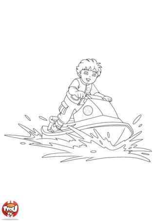 Coloriage: Diego en jetski