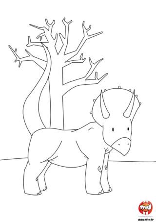 Coloriage : Le petit dinosaure et l'arbre. Tu aimes les dinosaures ? Alors imprime gratuitement ce coloriage de dinosaure gratuitement sur TFou.fr et colorie-le avec les couleurs de ton choix. Alors à tes crayons !