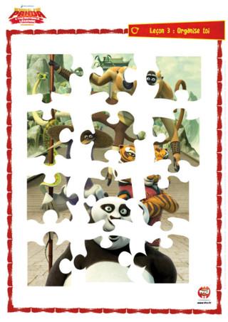 Imprime vite ton puzzle Kung Fu Panda et colle-le sur un support cartonné pour jouer et rejouer avec ton héros préféré !