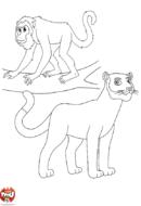 Singe et lionne