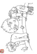 Diego sur la branche avec le singe