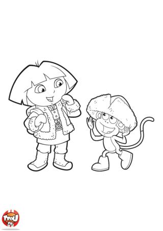 Coloriage: Dora et Babouche en hiver