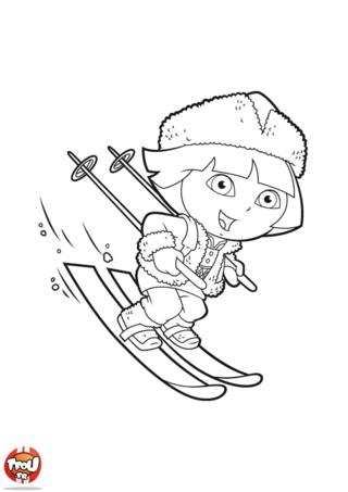 Coloriage: Dora au ski